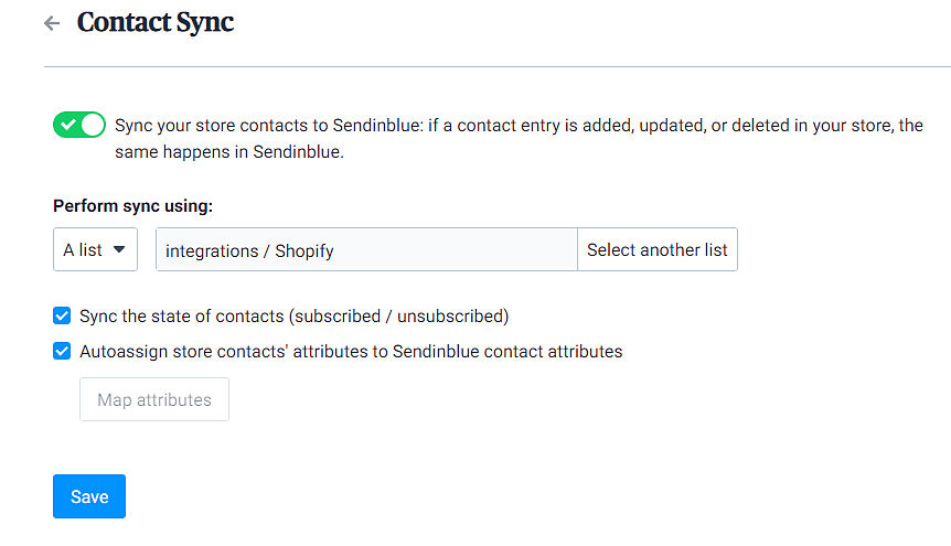 Shopify with Sendinblue integration
